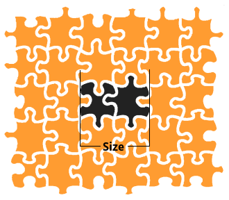 Two missing pieces together count as one larger piece