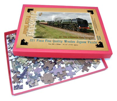 A wooden jigsaw puzzle